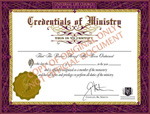 Ordination certificate and minister license from the Universal Life Church
