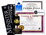 Certificates, credentials, wallet card, bumper stickers, press pass and more from The Monastery