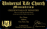 Minister credential wallet card from the Universal Life Church
